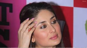 Kareena Kapoor Looking Side Glossy Pink Lips Face Closeup