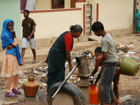 Water taken from a borewell at D J Halli, in Bangalore. The city faces an alarming water scarcity crisis.