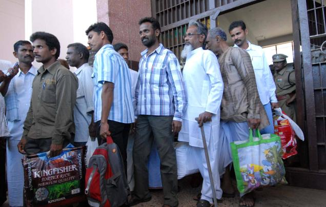 On the way out: Prisoners being released on remission on Republic Day in Andhra Pradesh in 2011. ---- File Photo