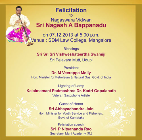 Felicitation ceremony to Nagesh. A. Bappanadu will held today