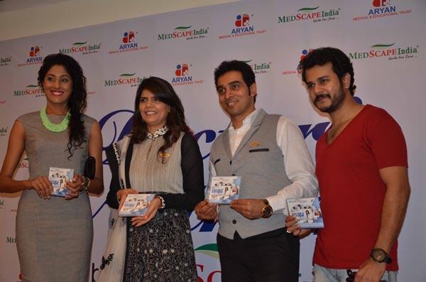 From LtoR  Telivision actor Shraddha Musale Dr Sunita Dube Dr Niraj Dube and Jay Soni