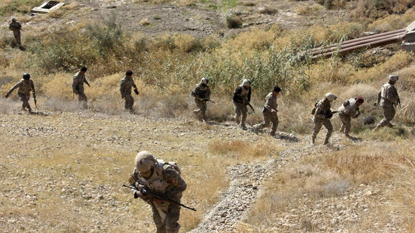 Iraqi security forces take part in an intensive security deployment against Islamic State militants in Adhaim