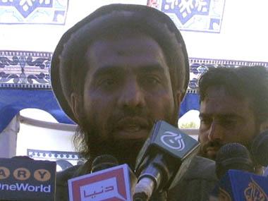 Zaki-ur-Rehman Lakhvi speaks during a rally