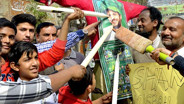 Pakistani cricket fans protest