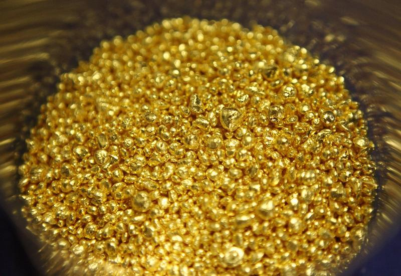 Gold granules are pictured at the Austrian Gold and Silver Separating Plant 'Oegussa' in Vienna