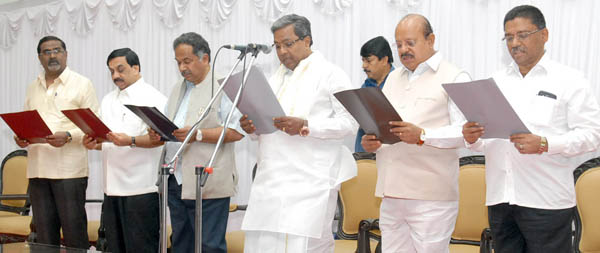 CM Siddaramaiah seen along with Minister TB Jayachandra and others during the Constitution Day celebrations at Vidhana Soudha in Bengaluru on Thursday Nov 26 2015 - KPN ### Constitution Day at Vidhana Soudha