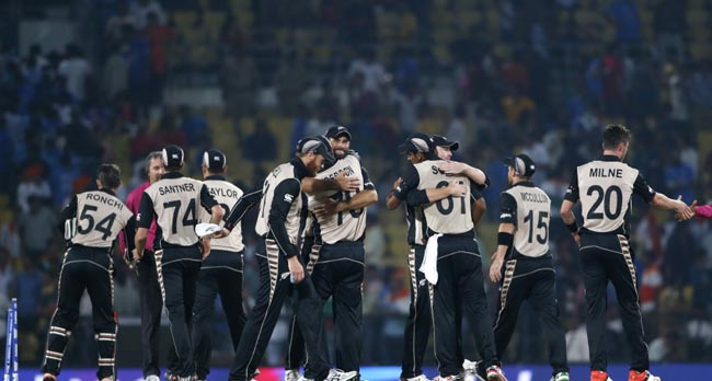 New Zealand players celebrate after defeating India by 47 runs during the ICC World Twenty20 2016 cricket match at the Vidarbha Cricket Association stadium in Nagpur, India, Tuesday, March 15, 2016. (AP Photo/Saurabh Das)