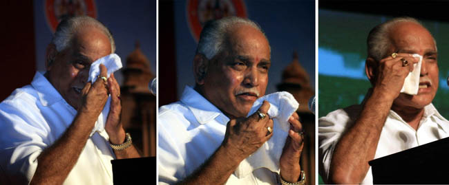 Chief Minister BS Yeddyurappa broke down during his speech at Sadhana Samaavesha a celebration of two years of BJP Government in the state at Bangalore Palace Grounds on Friday. –KPN