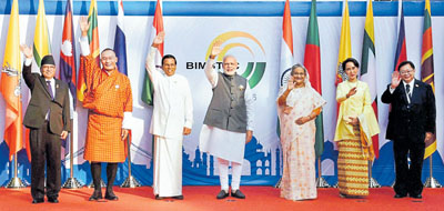 Mobor : Prime Minister Narendra Modi with Myanmar's State Counselor and Foreign Minister Aung San Suu Kyi, Sri Lankan President Maithripala Sirisena, Thailand PM Prayut Chan o Cha, Bangladeshi PM Sheikh Hasina, Nepal PM Pushpa Kamal Dahal, Bhutan PM Tshering Tobgay during the opening ceremony of the BIMSTEC Summit in Mobor, Goa on Sunday. PTI Photo by Shahbaz Khan (PTI10_16_2016_000201B)