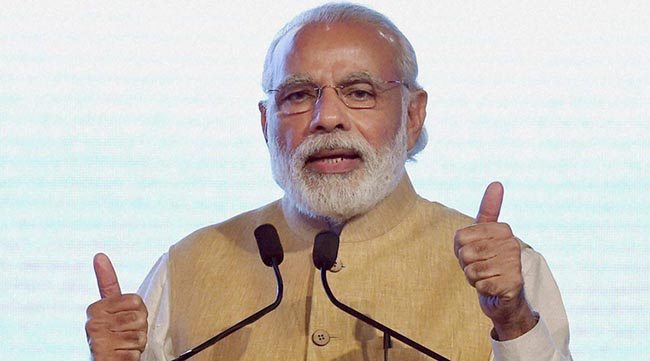 Mumbai: Prime Minister Narendra Modi during the inaugural ceremony of Maritime India Summit 2016 in Mumbai on Thursday. PTI Photo by Mitesh Bhuvad(PTI4_14_2016_000006b)
