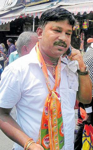 RSS member Rudresh (who was murdered at Kamaraj road) in Bengaluru on Sunday. Photo/ B H Shivakumar