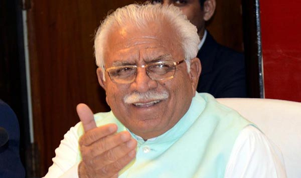 Chandigarh: Haryana Chief Minister Manohar Lal Khattar addresses a press conference in Chandigarh on Feb. 3, 2015. (Photo: IANS)